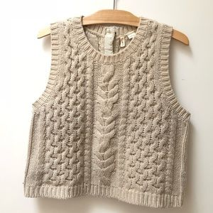 Anthropologie Fisherman Sweater Vest, ivory